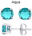 5mm Tachyonized Aqua Steriling Silver Earrings
