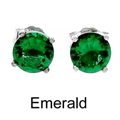 5mm Tachyonized Emerald Steriling Silver Earrings