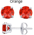 5mm Tachyonized Orange Steriling Silver Earrings