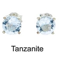 5mm Tachyonized TANZANITE Steriling Silver Earrings