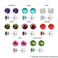Tachyonized 5mm Cubic Zirconia Stud Earrings in Sterling Silver