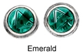8mm Tachyonized Sterling Silver Earrings Emerald Studs Framed