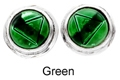 8mm Tachyonized Sterling Silver Earrings Green Studs Framed