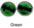 8mm Tachyonized Sterling Silver Earrings Green Studs - thin bezel