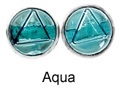8mm Tachyonized Sterlink Silver Earrings Aqua Studs -thin bezel
