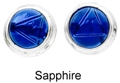 8mm Tachyonized Sterling Silver Earrings Sapphire Studs Framed