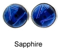 8mm Tachyonized Sterling Silver Earrings Sapphire Studs - thin bezel