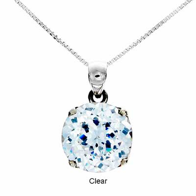 CZ Round Cut Pendant Medium - Clear