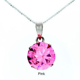 CZ Round Cut Pendant Medium - Pink