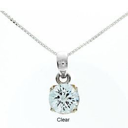 CZ Round Cut Pendant Mini - Clear