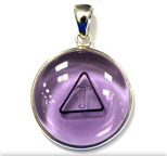 Tachyon 24mm Unframed Protective Pendant Set in Silver - Amethyst