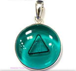 Tachyon 24mm Unframed Protective Pendant Set in Silver - Emerald