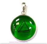 Tachyon 24mm Unframed Protective Pendant Set in Silver - Green