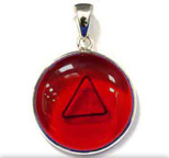 Tachyon 24mm Unframed Protective Pendant Set in Silver - Red