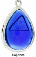 Tachyon Framed Teardrop Pendant Set in Silver - Sapphire