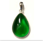 Tachyon Unframed Teardrop Pendant Set in Silver - Green