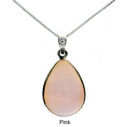 Tachyon Unframed Teardrop Pendant Set in Silver - Pink