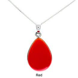 Tachyon Unframed Teardrop Pendant Set in Silver - Red