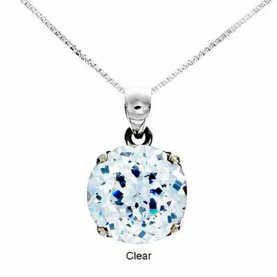 Larger than Medium Tachyon Cubic Zirconium Round Cut Pendant