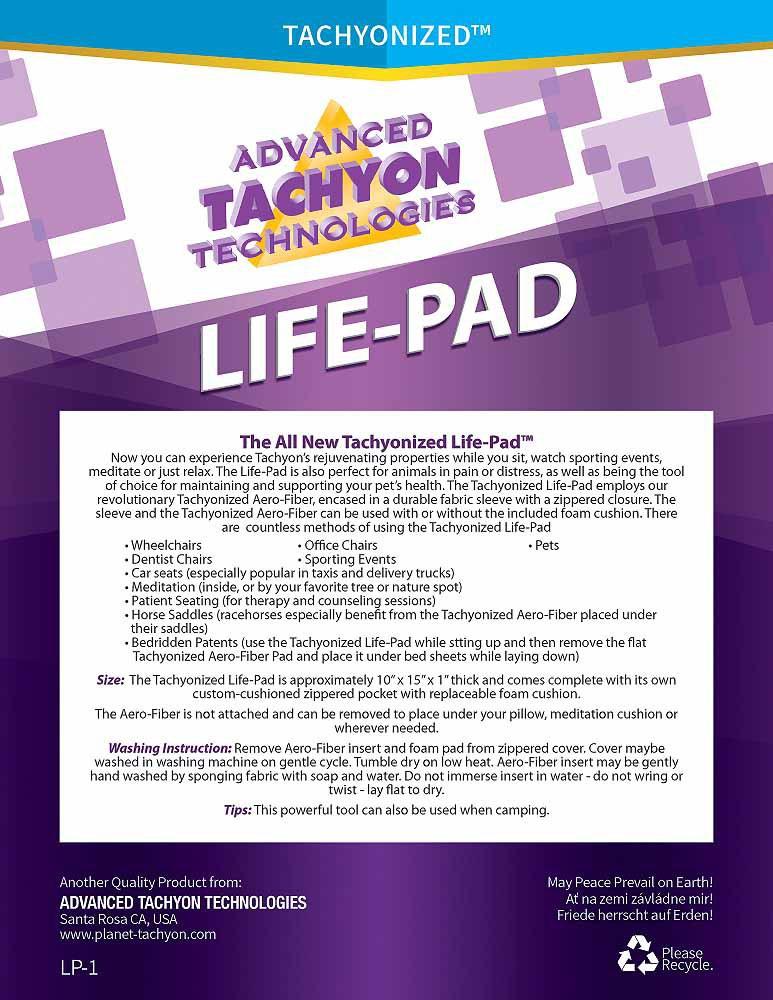 Tachyonized Life-Pad label
